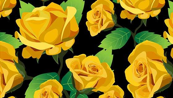 黄玫瑰图案背景矢量素材(EPS)