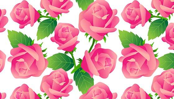 玫瑰花图案背景矢量素材(EPS)