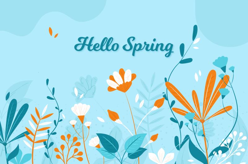 扁平风格花卉设计春天背景矢量素材(AI/EPS/免扣PNG)