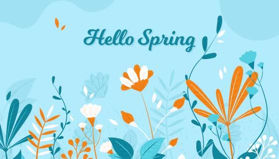扁平风格花卉设计春天背景矢量素材(AI/EPS/PNG)