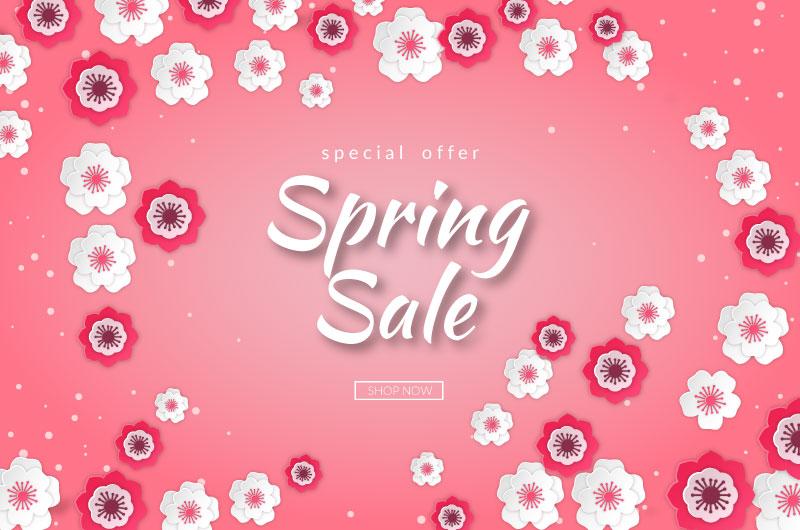 花朵设计春天促销背景矢量素材(AI/EPS/免扣PNG)