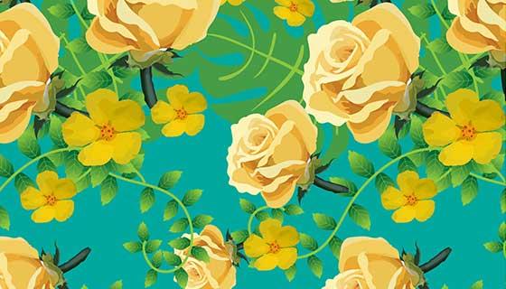黄色花朵图案背景矢量素材(EPS)