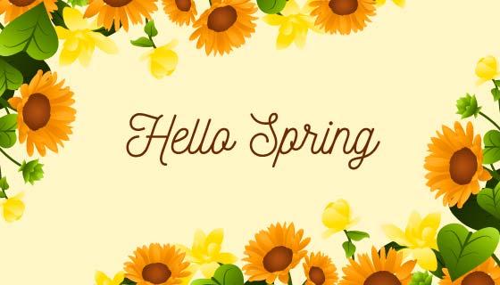 向日葵设计春天背景矢量素材(AI/EPS/PNG)