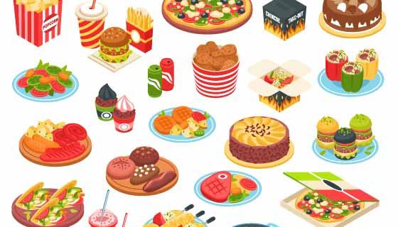 西式美味快餐矢量素材(EPS/PNG)