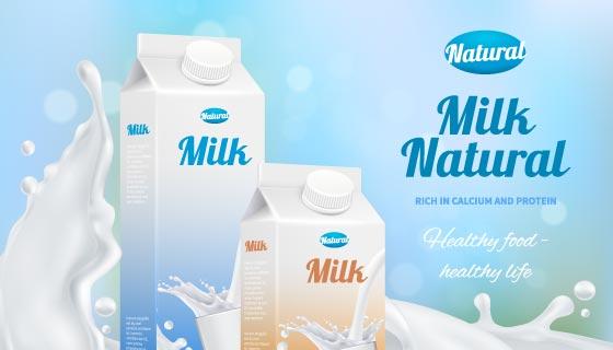 逼真的牛奶广告海报矢量素材(EPS)