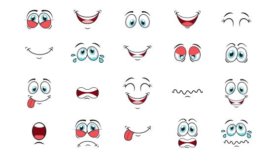 可爱的卡通眼睛嘴巴矢量素材(EPS/PNG)