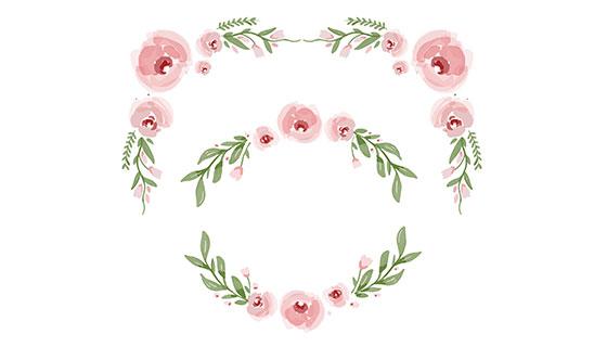 粉红色花朵装饰矢量素材(EPS)