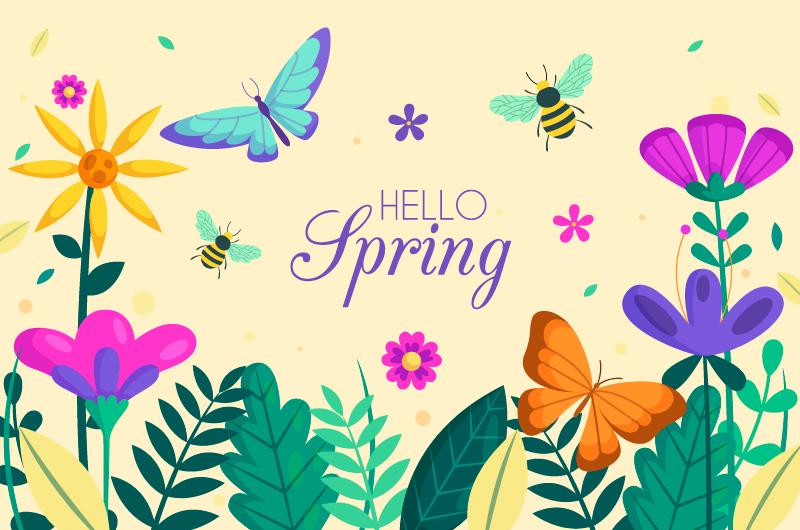 花卉和蝴蝶春天背景矢量素材(AI/EPS)