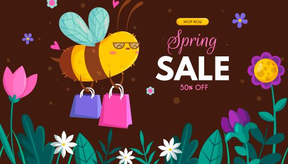 蜜蜂提着购物袋春季促销矢量素材(AI/EPS)