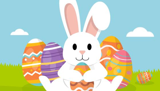 扁平兔子和彩蛋复活节快乐矢量素材(AI/EPS)