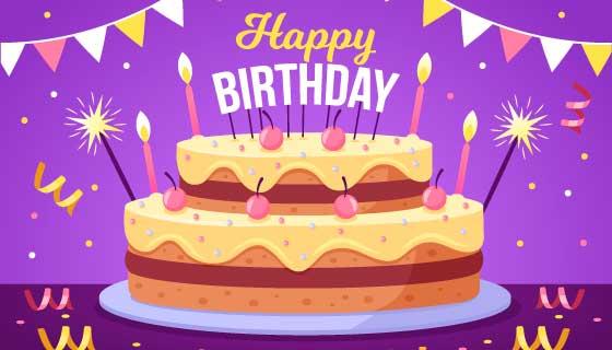 生日蛋糕设计生日快乐矢量素材(AI/EPS)