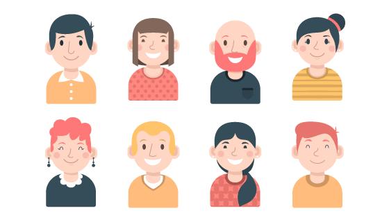 8个扁平风格男女老少头像矢量素材(AI/EPS/PNG)