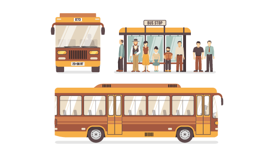 公交车和公交车站矢量素材(EPS/PNG)