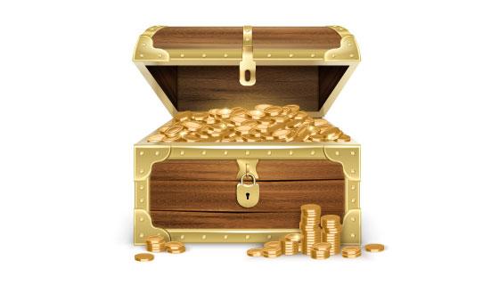 装满金币的宝箱矢量素材(EPS)