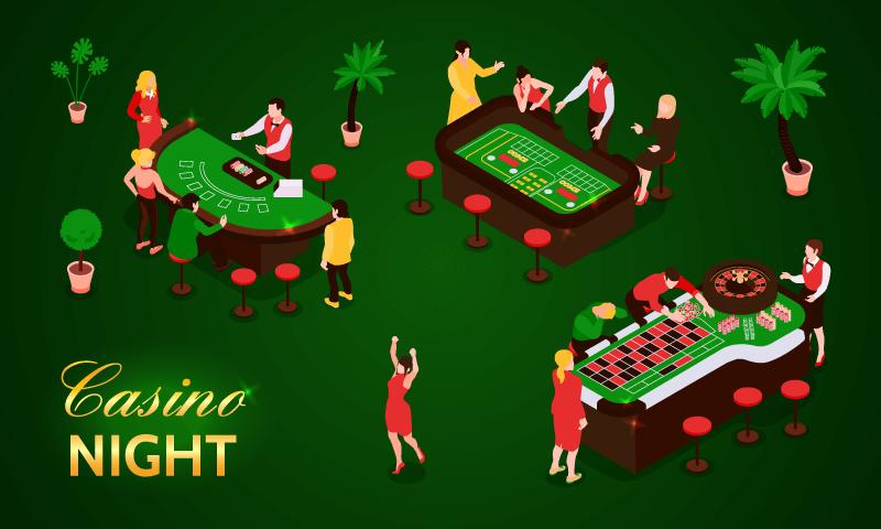 赌场上正在娱乐的人们矢量素材(EPS)