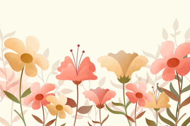 水彩花卉背景矢量素材(AI/EPS/免扣PNG)
