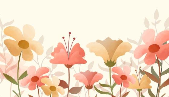 水彩花卉背景矢量素材(AI/EPS/PNG)
