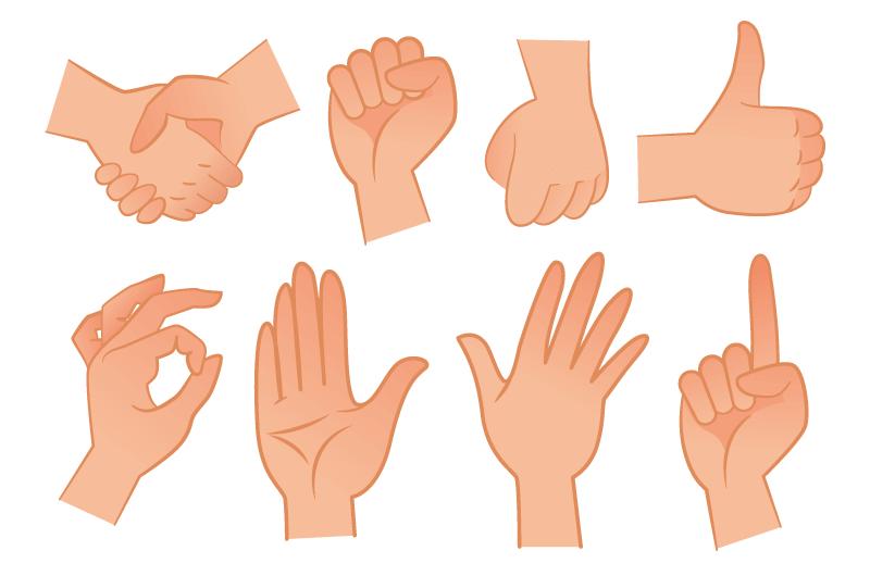 各种各样的手势矢量素材(EPS/免扣PNG)