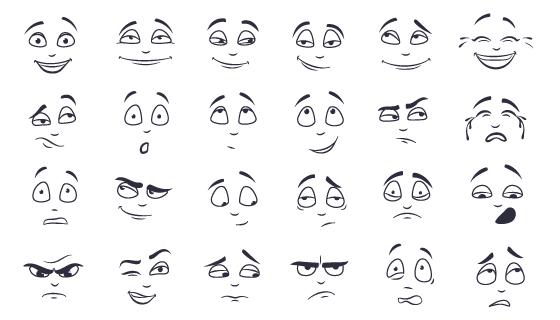 面部表情集合矢量素材(EPS/PNG)
