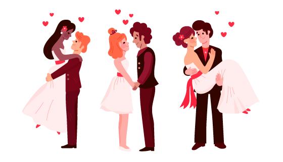 甜蜜的新婚夫妇矢量素材(AI/EPS/PNG)
