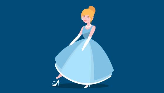 穿着蓝色连衣裙的灰姑娘矢量素材(AI/EPS/PNG)