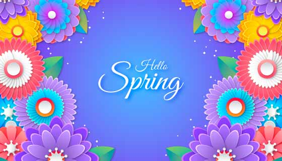五彩缤纷的花朵春天背景矢量素材(AI/EPS)