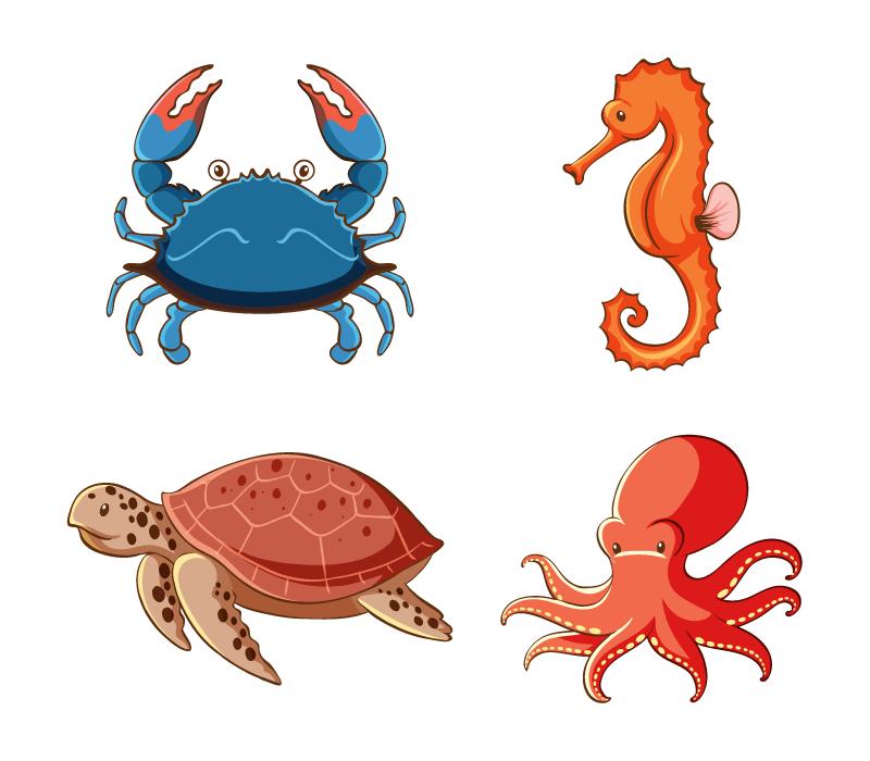 四种海洋动物矢量素材(EPS/免扣PNG)