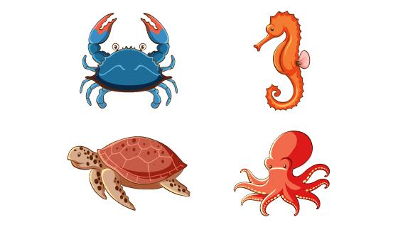 四种海洋动物矢量素材(EPS/PNG)