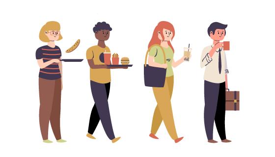 正在进餐的人们矢量素材(AI/EPS/PNG)