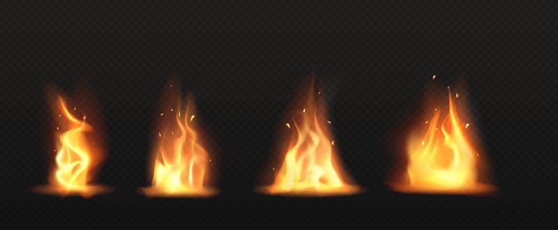 四束逼真的火焰矢量素材(EPS)