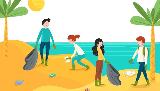 正在清理海滩的人们矢量素材(AI/EPS)