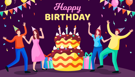 正在庆祝生日的人们矢量素材(AI/EPS)