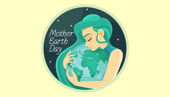 母亲抱着地球世界地球日矢量素材(AI/EPS)