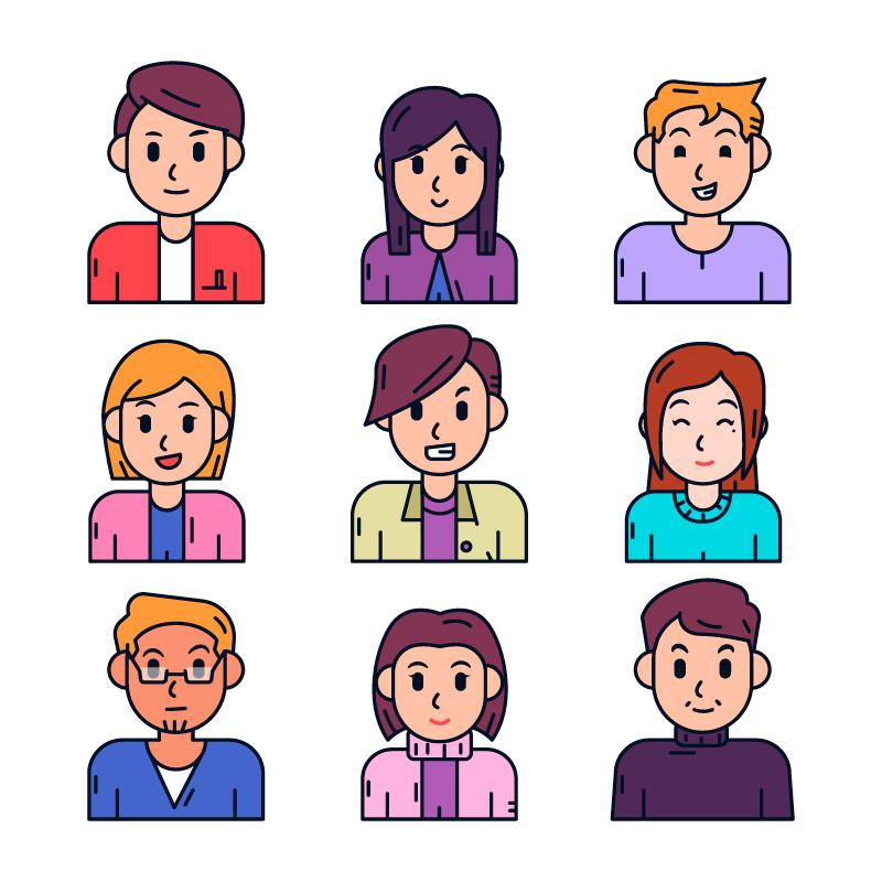 手绘风格人物头像矢量素材(AI/EPS/免扣PNG)