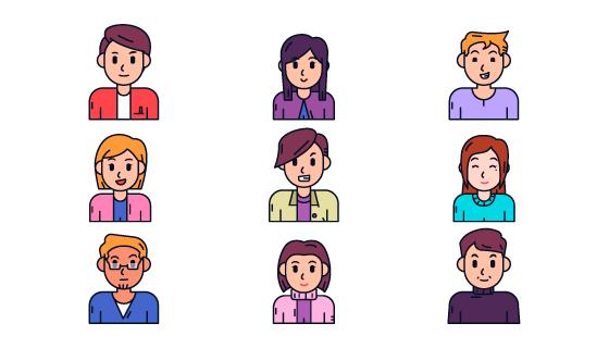 手绘风格人物头像矢量素材(AI/EPS/PNG)
