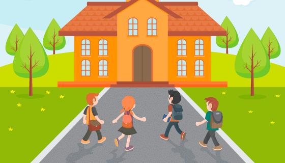 学生们开心返校上学矢量素材(AI/EPS)