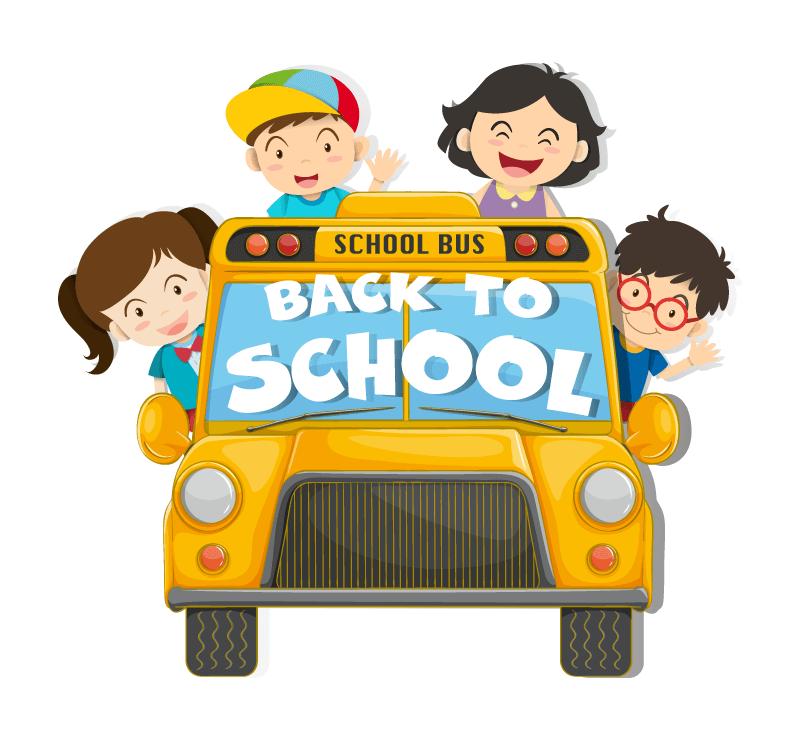 孩子们乘坐校车开心返校矢量素材(EPS/免扣PNG)