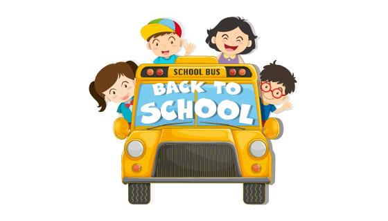 孩子们乘坐校车开心返校矢量素材(EPS/PNG)