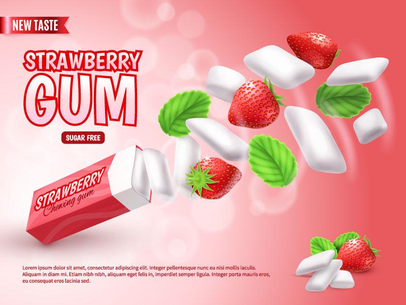 草莓味口香糖广告设计矢量素材(EPS)