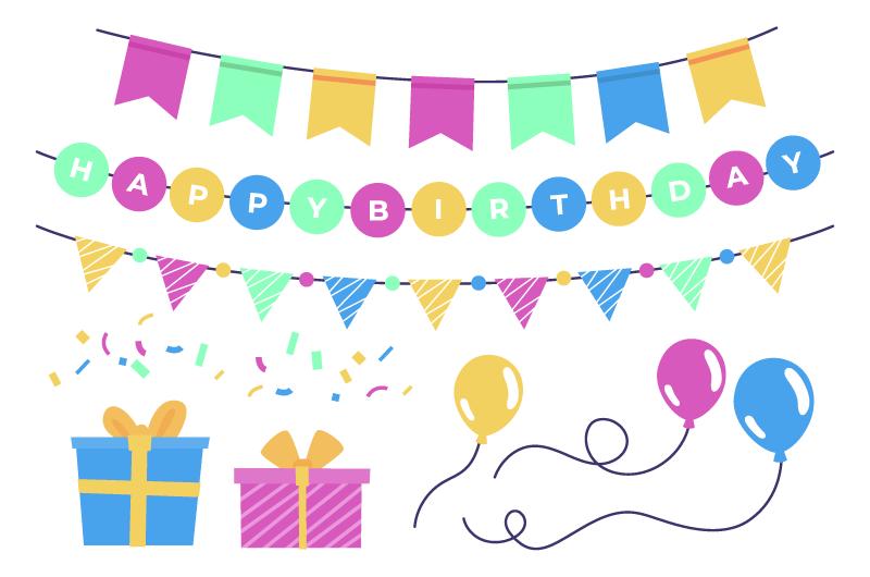 彩带气球礼物生日装饰矢量素材(AI/EPS/免扣PNG)