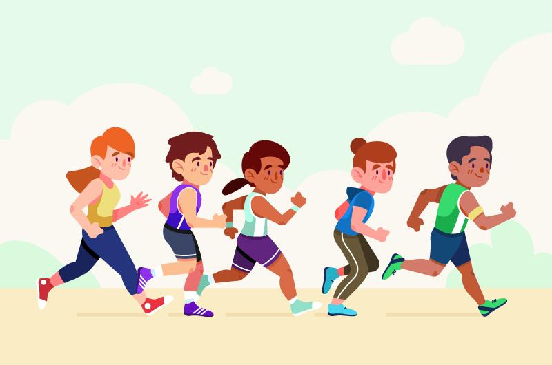 正在跑步的人们矢量素材(AI/EPS/免扣PNG)