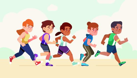 正在跑步的人们矢量素材(AI/EPS/PNG)