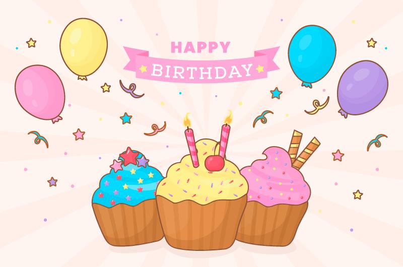 气球和蛋糕生日快乐背景矢量素材(AI/EPS/免扣PNG)