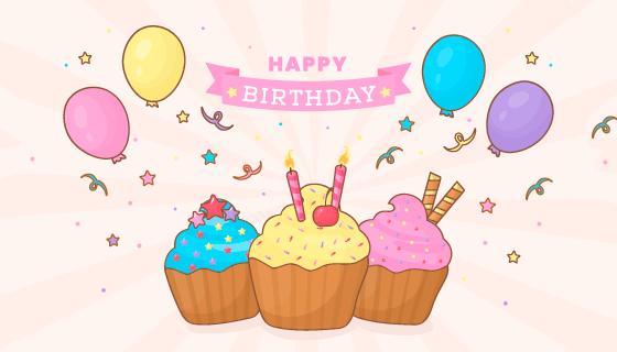 气球和蛋糕生日快乐背景矢量素材(AI/EPS/PNG)
