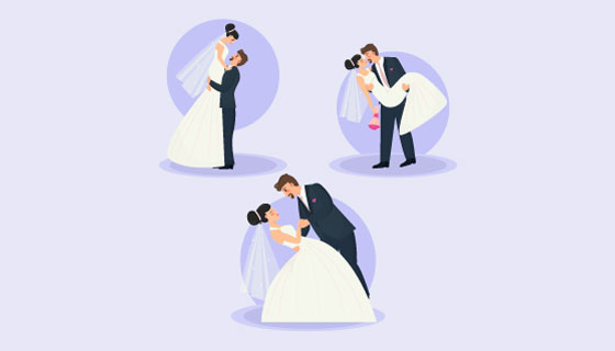 甜蜜的新婚夫妇矢量素材(AI/EPS)