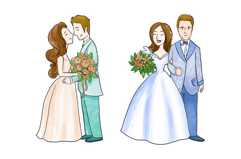 手绘甜蜜新婚夫妇矢量素材(AI/EPS/免扣PNG)