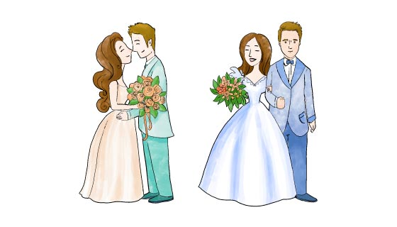 手绘甜蜜新婚夫妇矢量素材(AI/EPS/PNG)