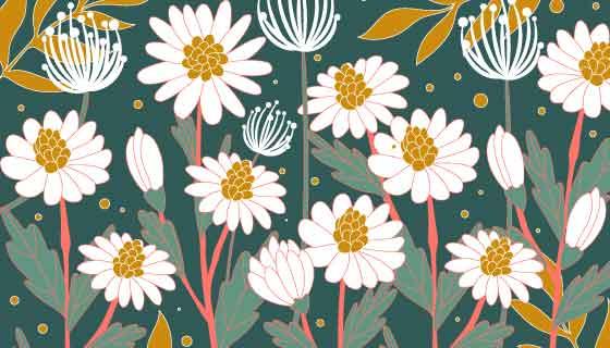 手绘风格白色花卉矢量素材(AI/EPS)