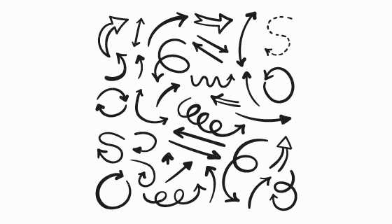 手绘风格黑色箭头矢量素材(AI/EPS/PNG)