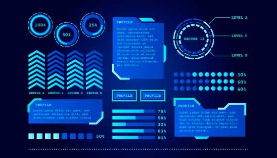 蓝色科技感信息图表矢量素材(AI/EPS)